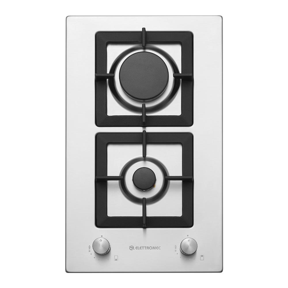 Cooktop Domino Quadratto Gas 2 queimadores 30cm Bivolt Elettromec