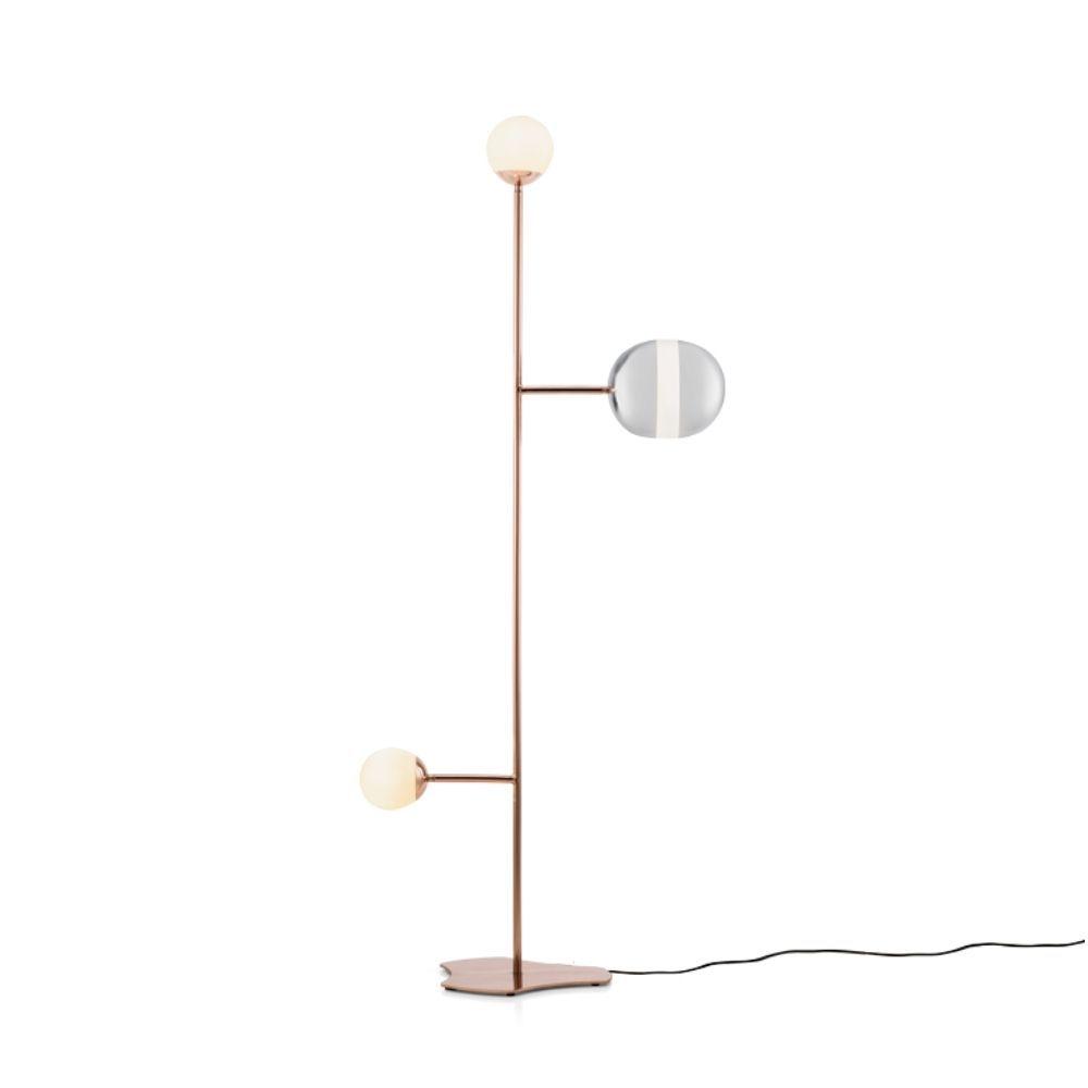 Luminária de Piso Maadi Klaxon Minimalista Aço Inox Vidro