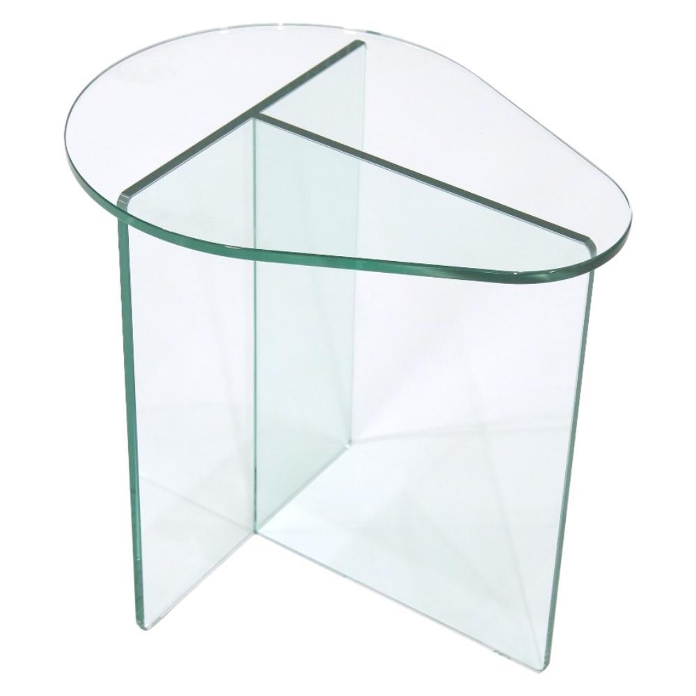 Mesa de Vidro Lateral Gota Design assinado Zanini de Zanine