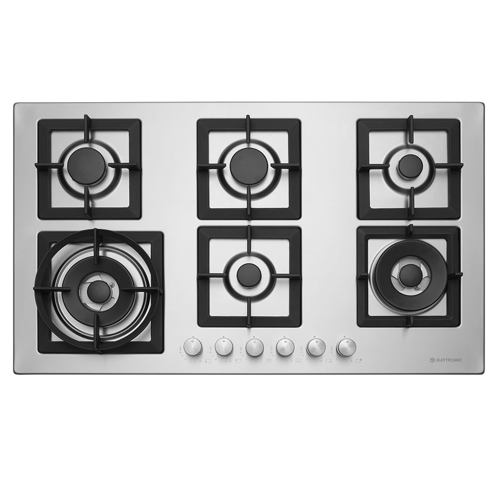 Cooktop Quadratto Gás 6 Bocas 90 cm Semi Profissional Elettromec