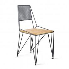 Cadeira em Aço e Pinus Ema Molio Design Cozinha