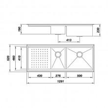 Cuba Mekal PG-50/27 aço inox escovado de embutir ou sobrepor para cozinha