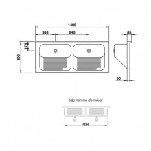 Tanque Mekal cuba dupla luxo 1400 aço inox para lavanderia