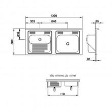 Tanque Mekal com cuba molho aço inox standard 1300 lavanderia