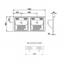 Tanque Mekal cuba dupla standard 1300 aço inox lavanderia
