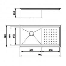 Cuba Mekal PG-50 aço inox escovado de embutir ou sobrepor para cozinha