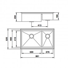 Cuba Mekal RG-50/27 aço inox escovado de embutir ou sobrepor para cozinha