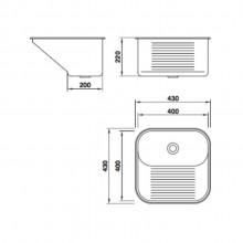 Tanque Mekal Aço Inox CT40 para lavanderia escovado polido