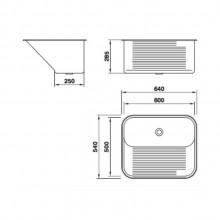 Tanque Mekal Aço Inox CT60 para lavanderia escovado polido