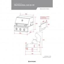 Churrasqueira Professional Gás 65 cm 3 queimadores Elettromec