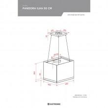Coifa Quadrada Pandora Ilha Teto 50cm 220V Elettromec Gourmet
