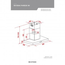 Coifa Ravenna Parede Elettromec 90cm 127V/220V Gourmet Titanium