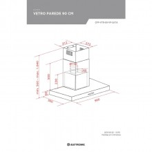 Coifa Vetro Parede Elettromec 90cm 220V