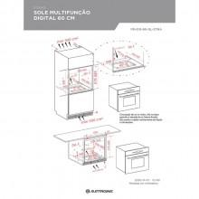 Combinado Forno 60 cm + Microondas 40 litros Sole Multifunção Digital 220v Elettromec