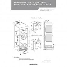 Combinado Forno 60 cm + Micro-ondas 40 litros Vetro Multifunção Digital Elettromec