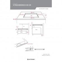 Cooktop Vitrocerâmico 90cm Preto e Inox 220V Elettromec