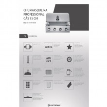 Churrasqueira Professional Gás 75 cm 4 queimadores Elettromec