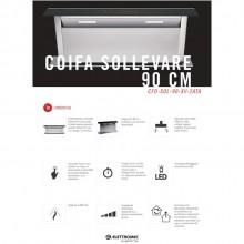 Coifa Sollevare de Embutir em Inox e Vidro 90cm 220v