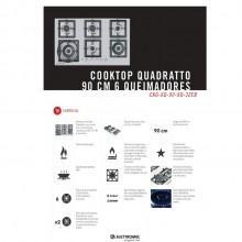 Cooktop Quadratto Gás 6 Bocas Inox 90 cm Semi Profissional Elettromec