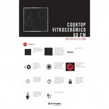 Cooktop Vitrocerâmico 60cm em inox e vidro 220V Elettromec