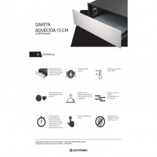Gaveta Aquecida Inox 15cm de embutir elétrico 220V Elettromec