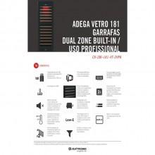 Adega Grande Preta 181 Garrafas Dual Zone Built-In Elettromec